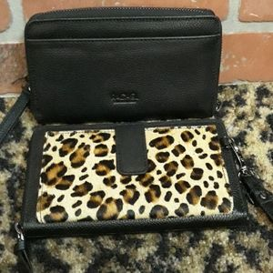 RACHEL ROY Leopard Leather Black Wristlet Wallet